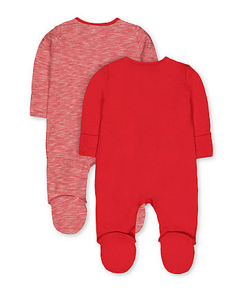 festive red sleepsuits - 2 pack