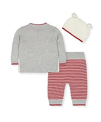 festive polar bear knit jumper, joggers and hat set
