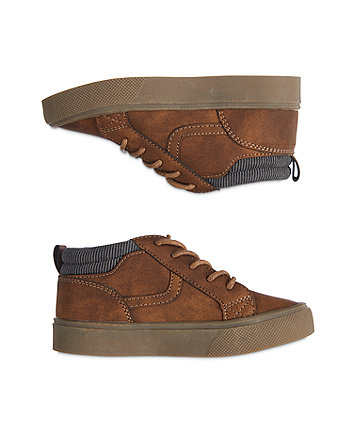 brown faux-suede shoes