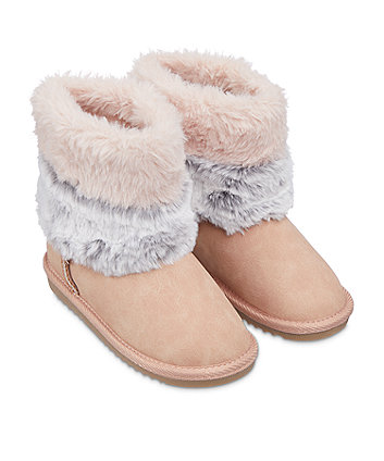 pink and grey faux fur snug boots