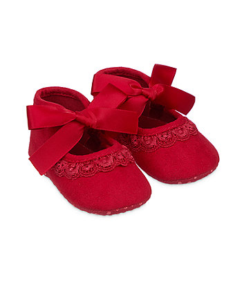 red bow pram shoes