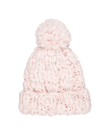 pink chunky-knit beanie hat