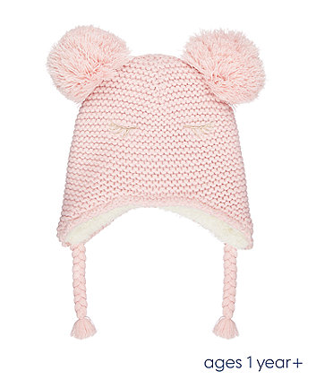 pink double-pom trapper hat