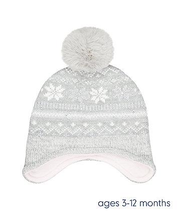 grey fairisle trapper hat