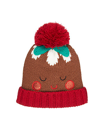 knitted novelty christmas pudding hat