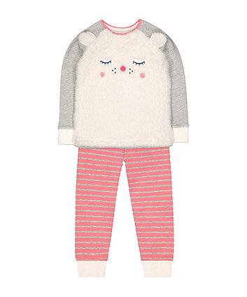 fluffy polar bear stripe pyjamas