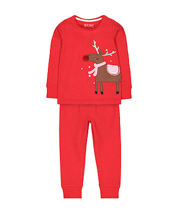 red christmas reindeer pyjamas
