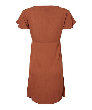 Mamalicious pica rust woven button-through maternity dress