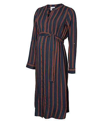 Mamalicious lisa stripe woven midi shirt maternity dress