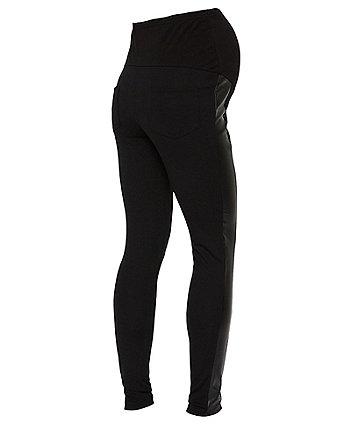 Mamalicious addy black side-stripe jersey maternity leggings