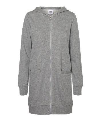 Mamalicious fik tikka grey zip-through maternity sweat cardigan with hood