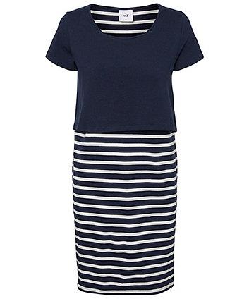 Mamalicious lea navy stripe double-layer nursing dress