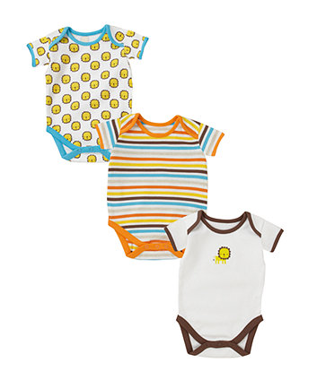 Boys Lion short sleeve bodysuit - 3 pack