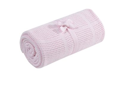 mothercare crib or moses basket cellular cotton blanket- pink