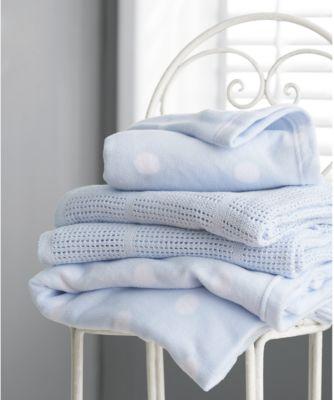 mothercare crib or moses basket cellular cotton blanket- blue
