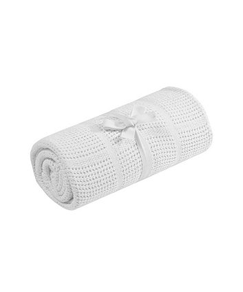 mothercare cot or cot bed cellular cotton blanket- white