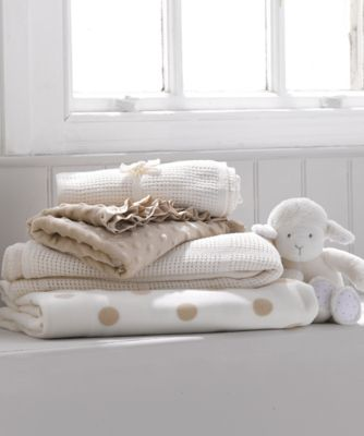 mothercare cot or cot bed cellular cotton blanket- cream