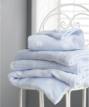 mothercare cot or cot bed cellular cotton blanket- blue