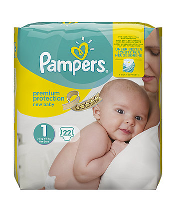 Pampers new baby size 1 (newborn) nappies  (2-5Kg / 4-11lbs) -  22 Pack