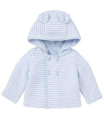 Mothercare Velour Lined Hooded Cardigan- Blue