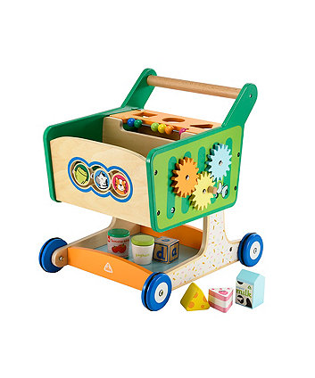 Early Learning Centre Wooden Shop Trolley With Blocks