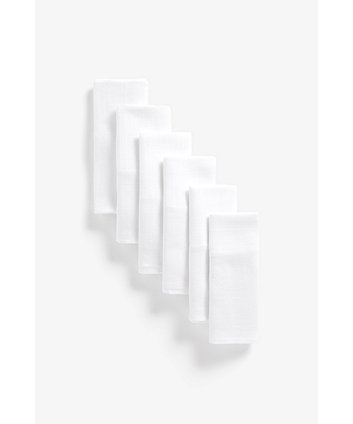 Mothercare Muslin, White - 6 Pack