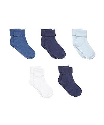 Mothercare Multi Blue Turn Over Top Socks- 5 Pack