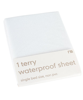 Mothercare Waterproof Terry Flat Sheets for Single Bed - White
