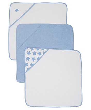 Mothercare Cuddle 'N' Dry Hooded Towel, Blue - 3 Pack