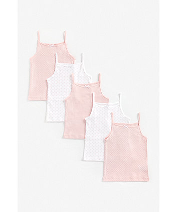 Mothercare Pink And White Cami Vests - 5 Pack