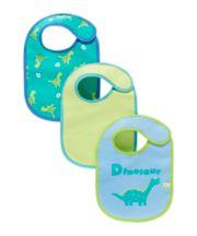 Mothercare Newborn Dinosaur Bibs - 3 Pack
