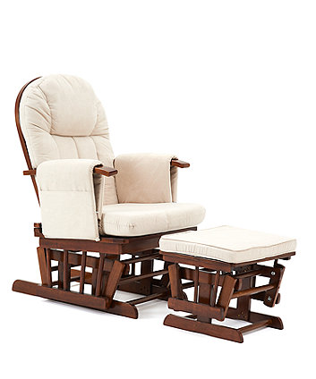 Mothercare Walnut Reclining Glider Chair With Beige Cushion
