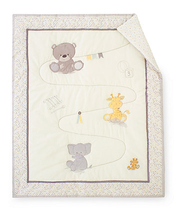 Mothercare Teddy's Toy Box Cot Bed Quilt - Cream