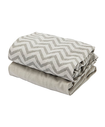 Tutti Bambini CoZee Bedside Crib Fitted Sheets 2 Pack - Chevron/Grey