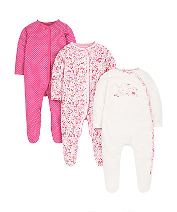 Bear and Bunny Sleepsuits - 3 Pack