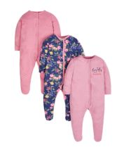 Autumn Floral Sleepsuits - 3 Pack