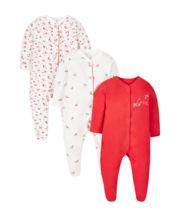 Little Robin Sleepsuits - 3 Pack