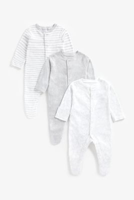 Mothercare Grey Animal Sleepsuits - 3 Pack
