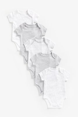Mothercare Grey Animal Short Sleeve Bodysuits - 5 Pack