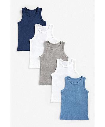 Mothercare Blue Marl Vests - 5 Pack
