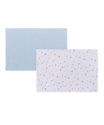 Mothercare Jersey Fitted Crib Sheets - Blue & Print 2pk