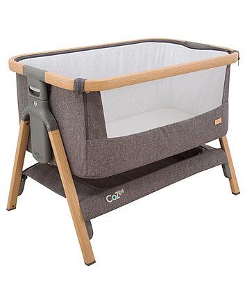 Tutti Bambini CoZee Bedside Crib - Oak and Silver