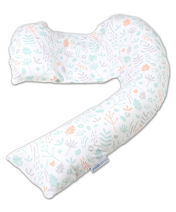Dreamgenii Pregnancy Support And Feeding Pillow Cover - Floral Cotton Grey White