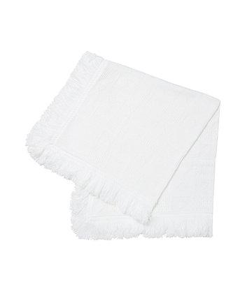 Mothercare White Fringe Knit Shawl