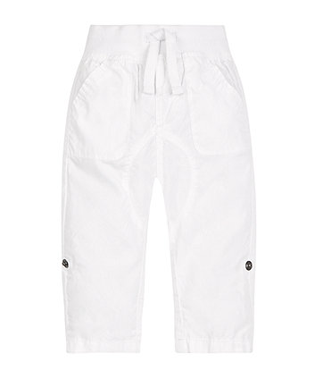 Mothercare White Poplin Roll Up Trousers - White