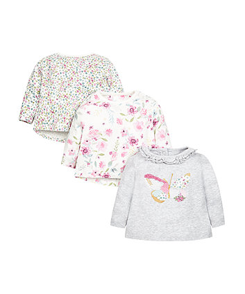 Floral And Butterfly Tops - 3 Pack