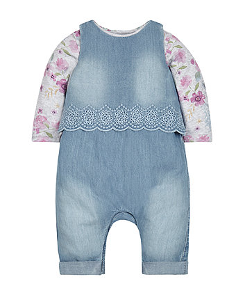 Chambray Dungarees And Bodysuit Set