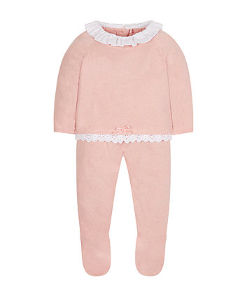 Pink Knitted Top And Leggings Set