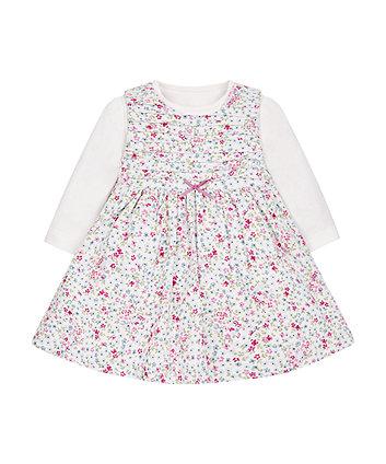 Floral Cord Dress With Bodysuit Set