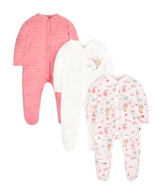Mothercare Girls Bunny Lovely Letters Sleepsuits - 3 Pack